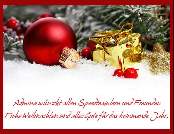 Admina wünscht allen Speedteamlern und Freunden Frohe Weihnachten und alles Gute für das kommende Jahr
